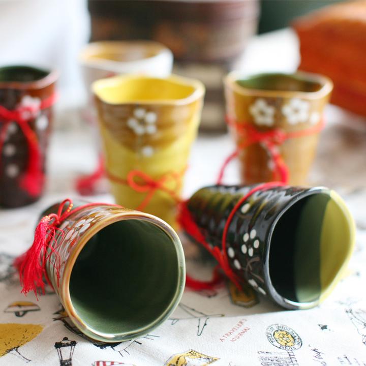 【日式礼品和风手绘樱花杯6个家庭套装】【送男朋友
