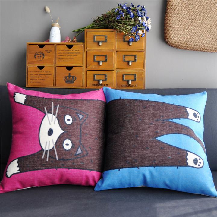 可爱猫咪情侣棉麻沙发午睡抱枕