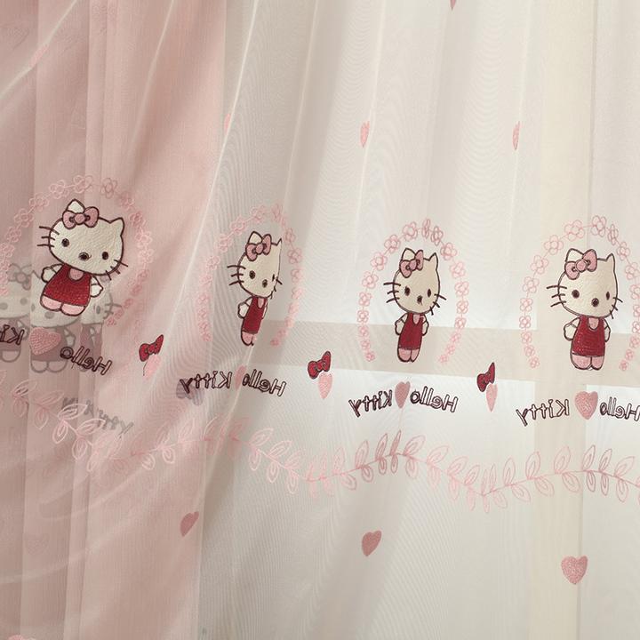 hello kitty公主房粉色可爱窗帘