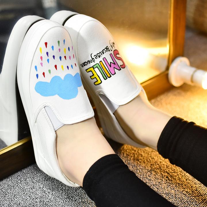 日系小清新松糕手绘鞋