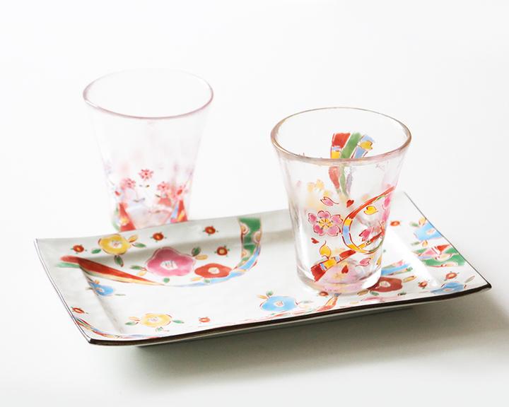 美浓烧和风彩绘樱花杯