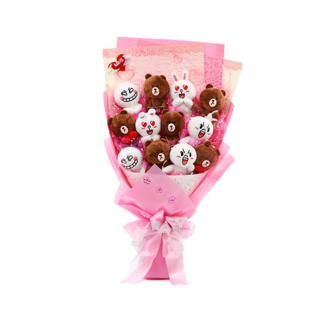 布朗熊可妮兔卡通花束