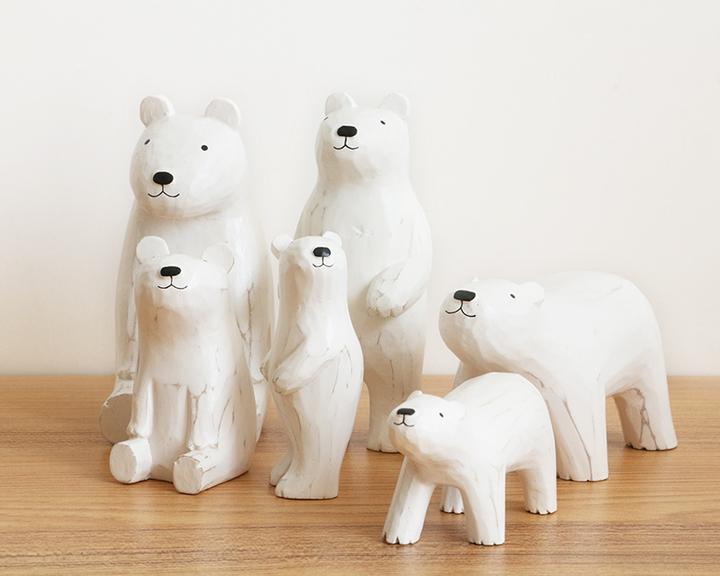 纯手工木质北极熊小摆件