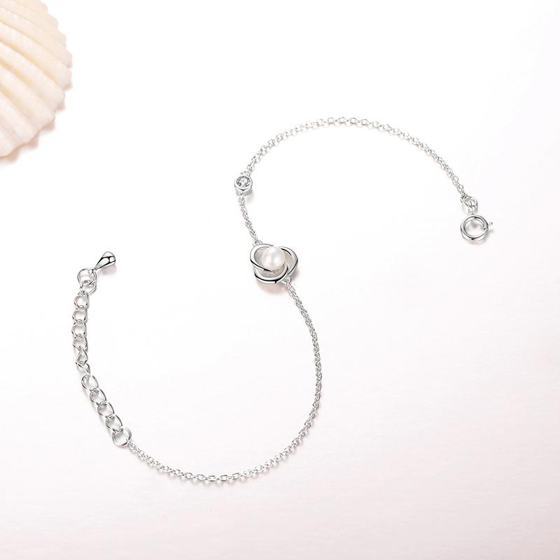 品廷原创初心蓓蕾925银镶珍珠手链